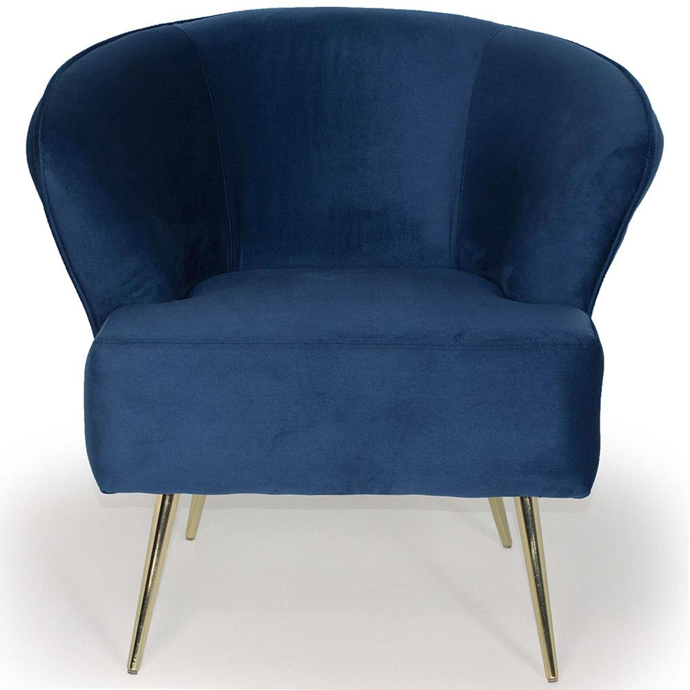 Poltrona Decorativa Iris Pés Palito Gold Veludo Azul - casaepoltrona