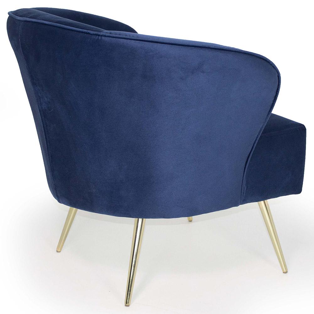 Poltrona Decorativa Iris Pés Palito Gold Veludo Azul Royal - casaepoltrona