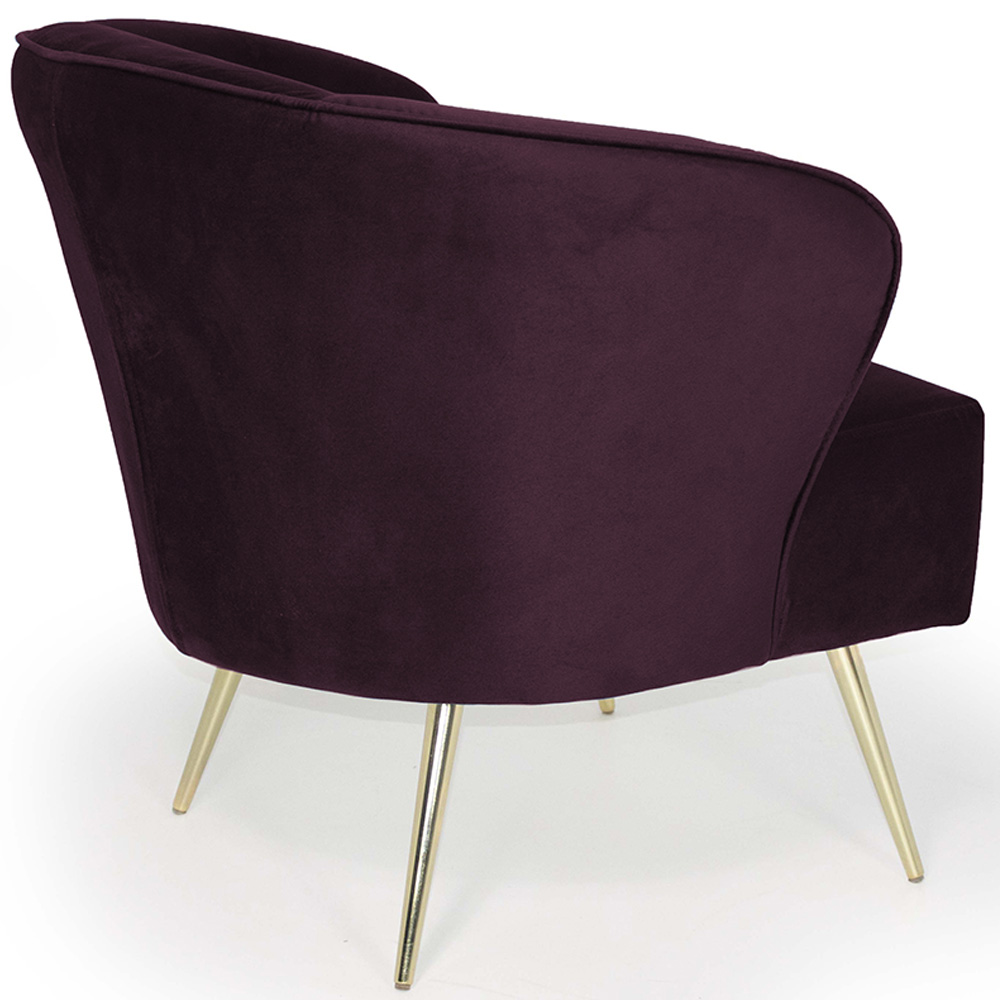Poltrona Decorativa Iris Pés Palito Gold Veludo Roxo - casaepoltrona