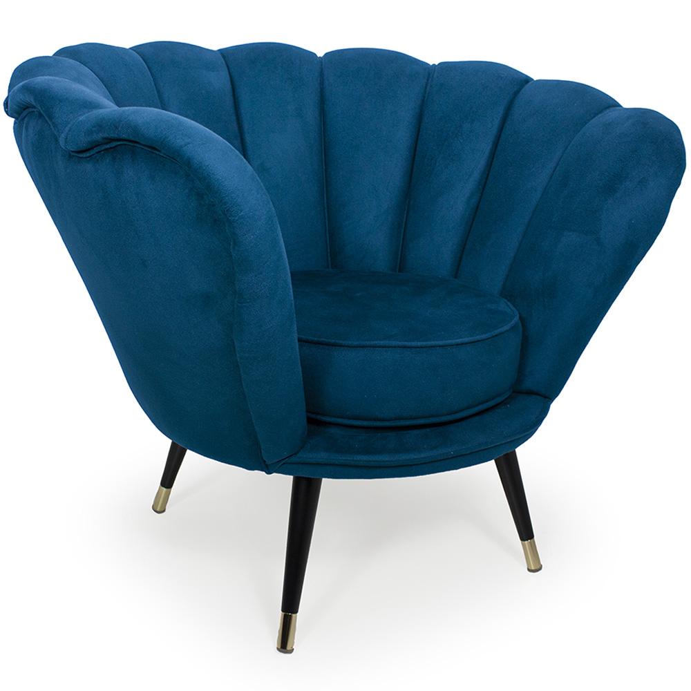Poltrona La Pétala para Sala de Estar Pés Palito Duo Veludo Azul - CasaePoltrona