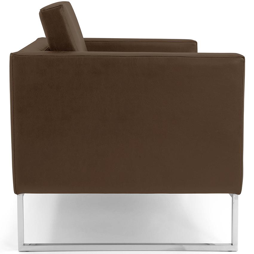 Poltrona Para Escritório Maia Base Alumínio Corano Chocolate - CasaePoltrona