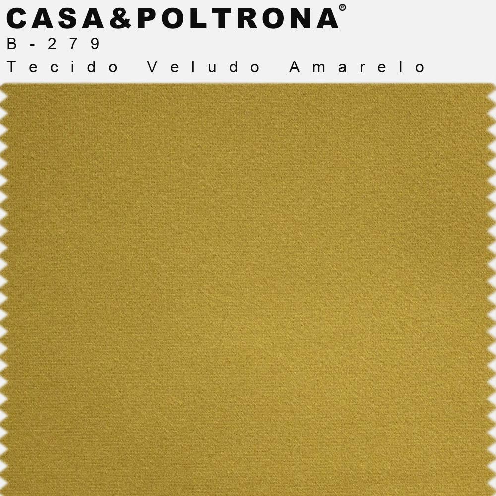 Poltrona Para Sala Angel Base de Madeira Veludo Amarelo - casaepoltrona