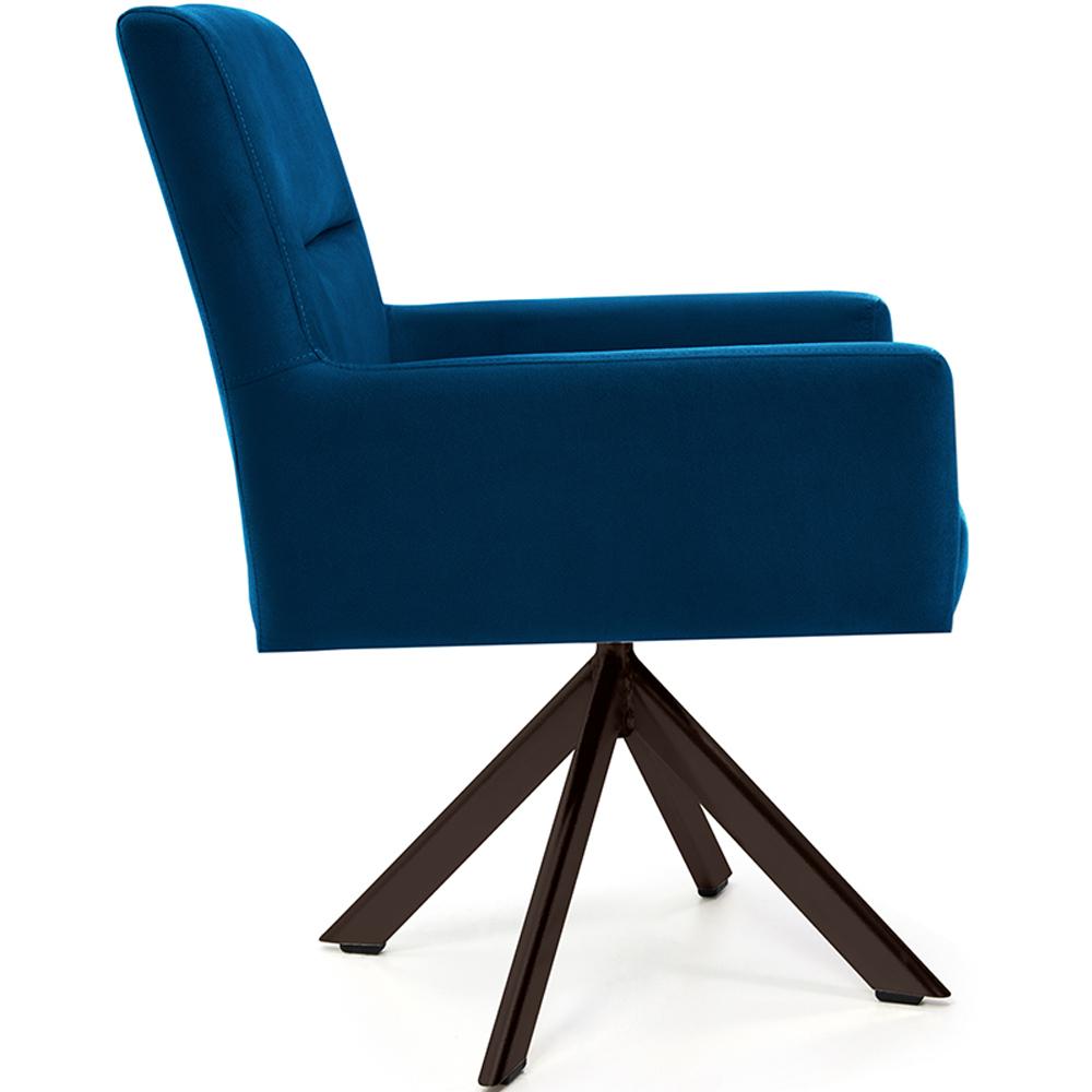 Poltrona Para Sala Angel Base Giratória Eiffel Chocolate Veludo Azul - casaepoltrona