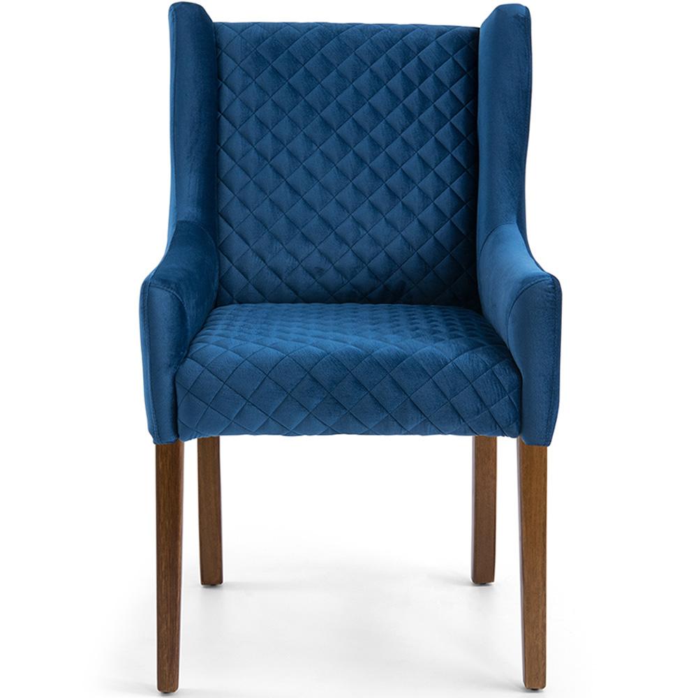 Poltrona Para Sala de Estar Belle Base de Madeira Veludo Matelassê Azul Royal - casaepoltrona