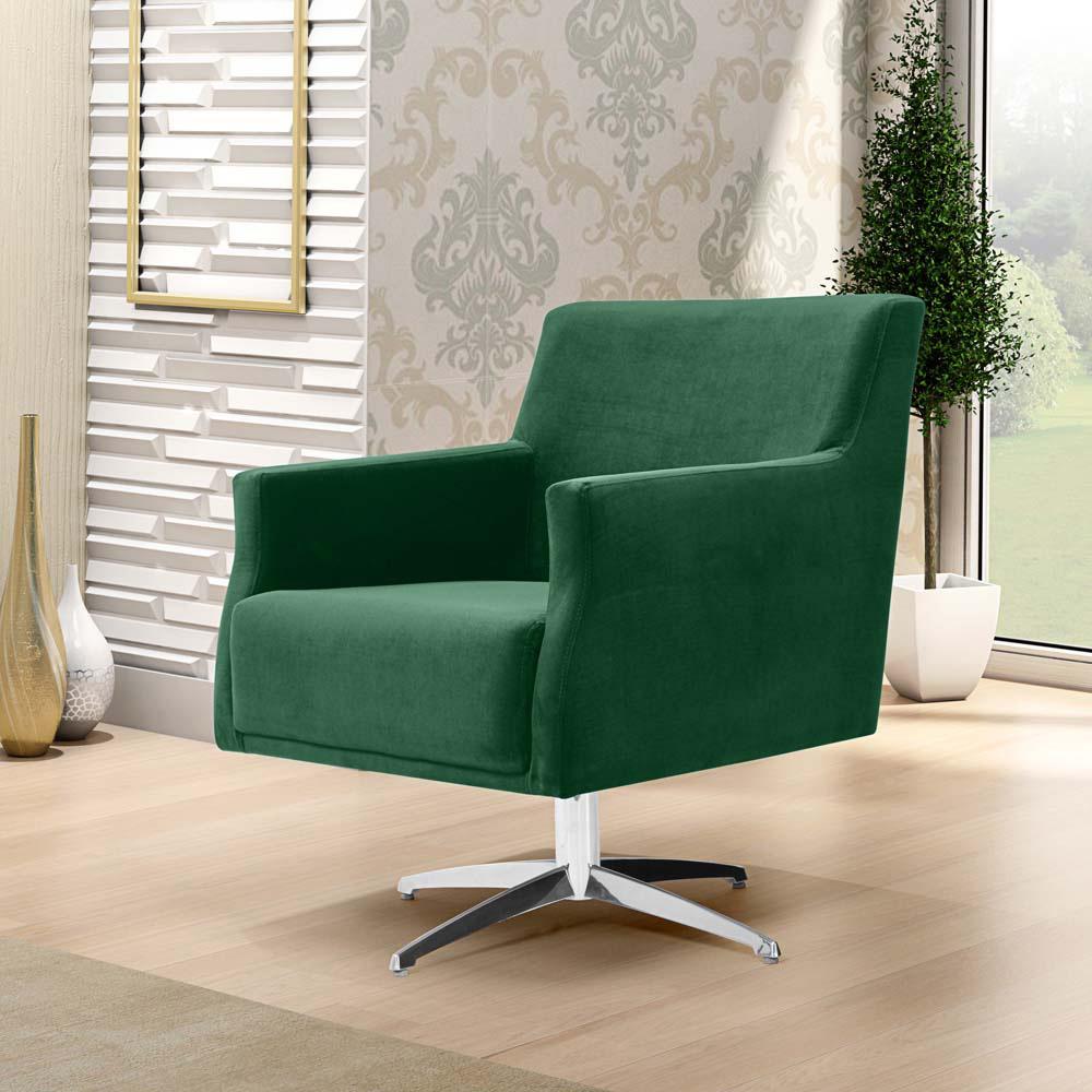Poltrona Para Sala De Estar Diva Base Giratória Suede Verde Esmeralda - casaepoltrona