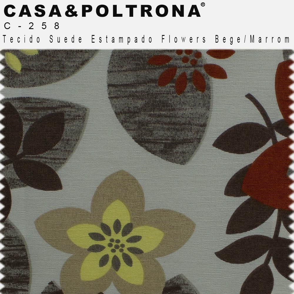 Poltrona Para Sala de Estar Diva Pés Madeira Suede Estampado Flowers Bege/Marrom - casaepoltrona