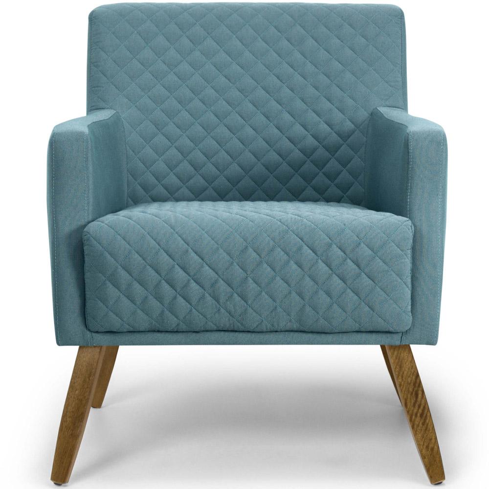 Poltrona Para Sala de Estar Diva Pés Madeira Tecido Lona Matelassê Azul Turquesa - casaepoltrona