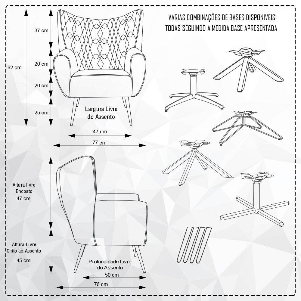 Poltrona Para Sala Decorativa Kora Base Giratória Giromad Linho Geométrico Preto/Bege - casaepoltrona