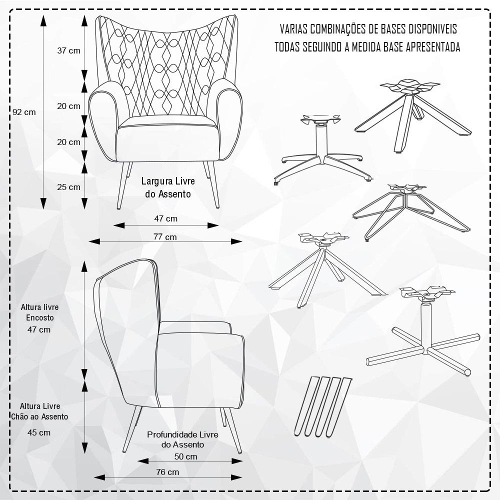 Poltrona Para Sala Decorativa Kora Pés Palito Imbuia Duo Linho Rústico Ecru - casaepoltrona