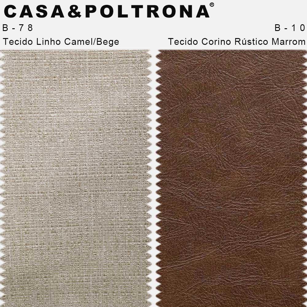 Poltrona Para Sala Larissa Pés Palito Corano Rústico Marrom/Linho Mesclado Camel/Bege - casaepoltrona