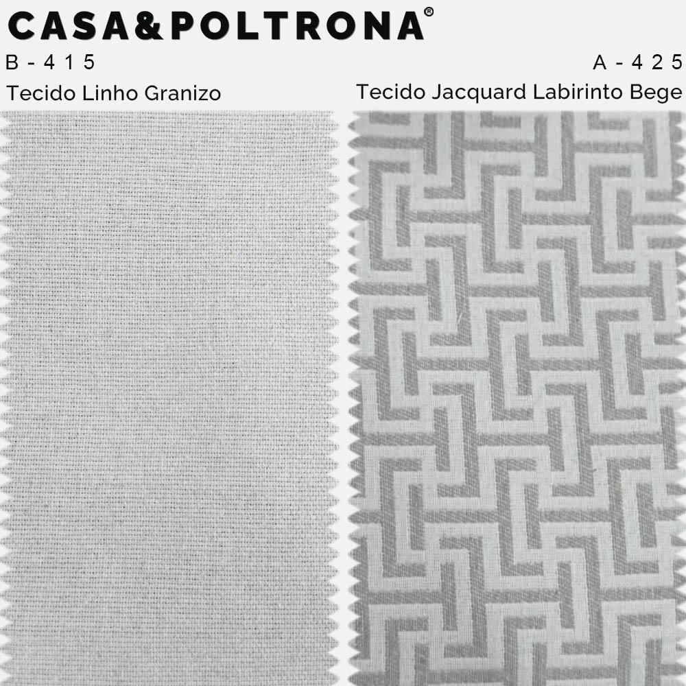 Poltrona Pérsia Base Giratória KA Jacquard Labirinto Bege/Linho Cinza Claro - CasaePoltrona