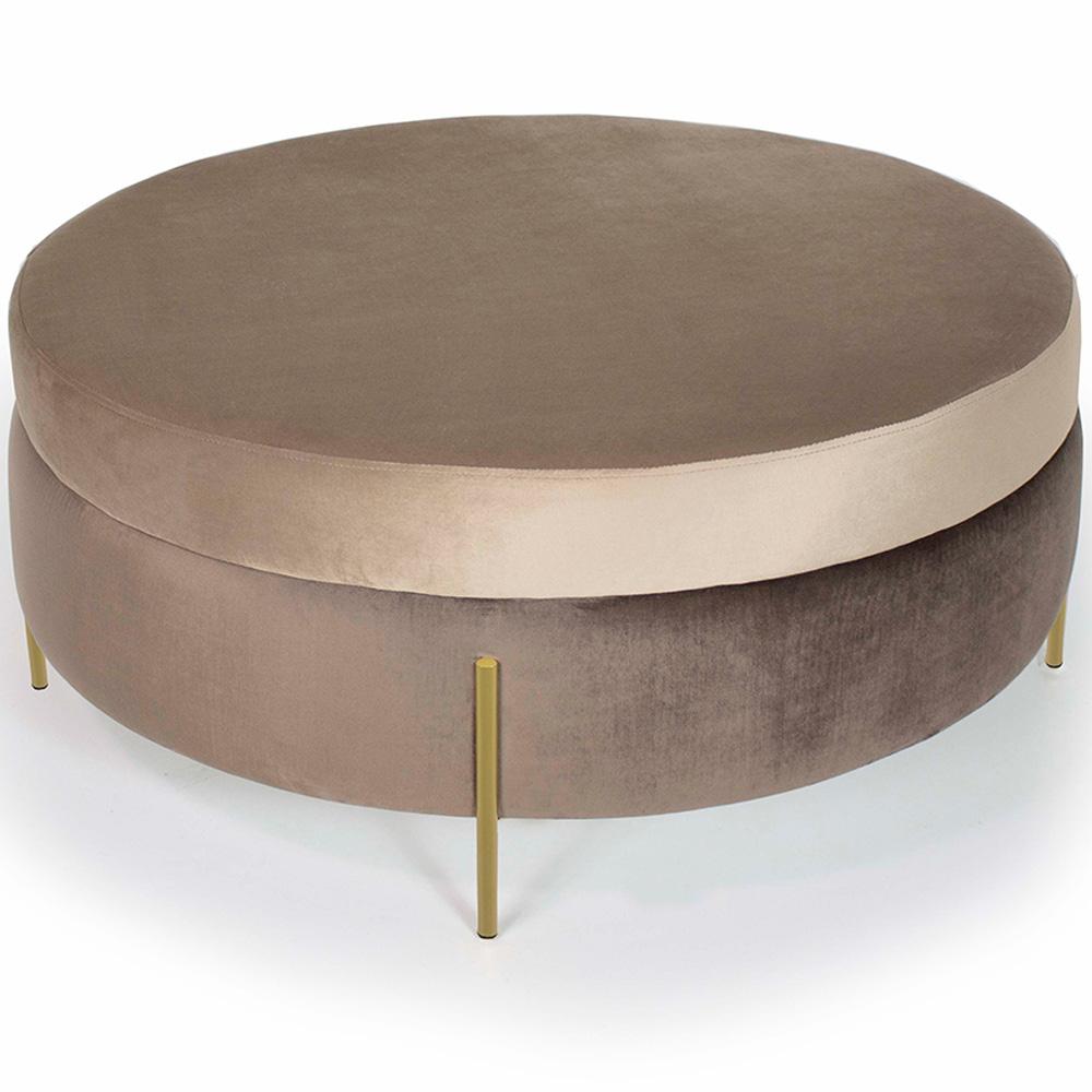 Puff Decorativo Lewis 100x100 cm Pés Bronze Veludo Marrom Claro/Veludo Marrom - CasaePoltrona