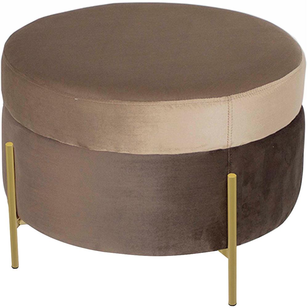 Puff Decorativo Lewis 60x60 Pés Bronze Veludo Marrom Claro/Veludo Marrom - CasaePoltrona