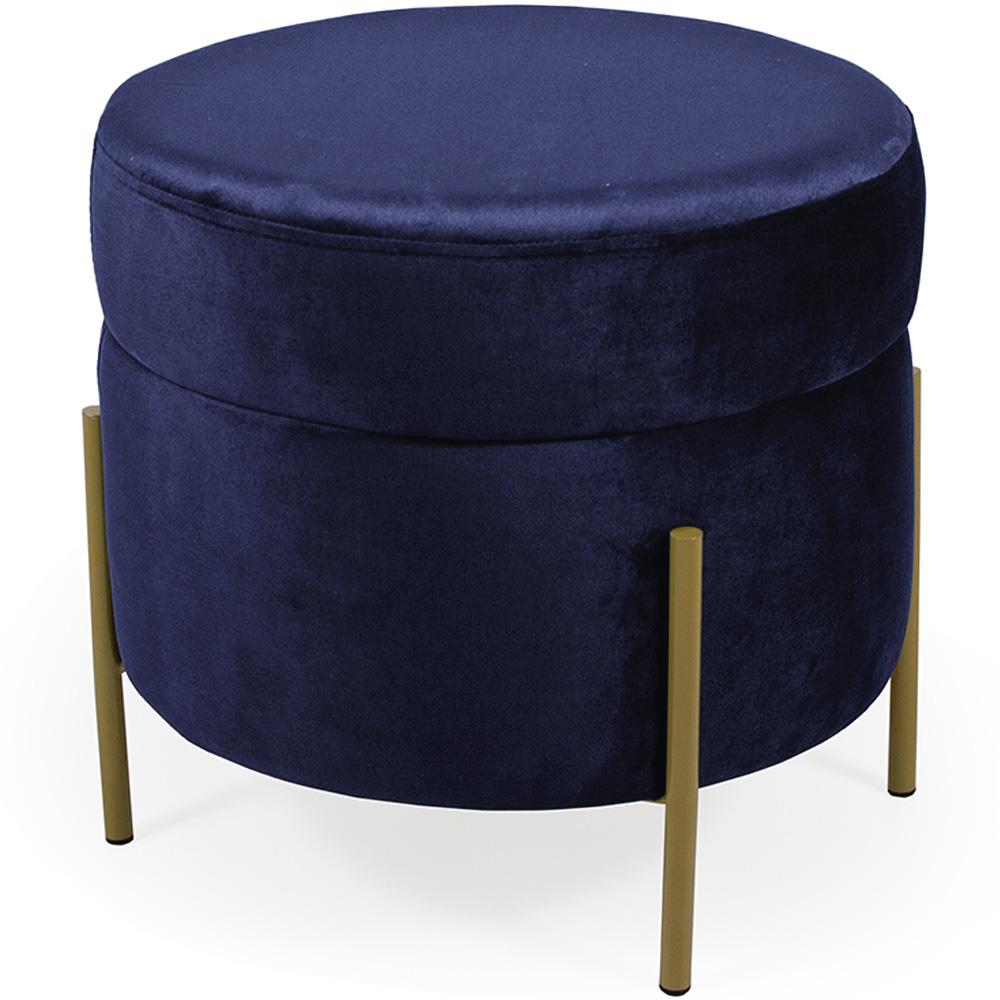 Puff Decorativo Lewis 45x45 cm Pés Bronze Suede Azul Marinho - CasaePoltrona