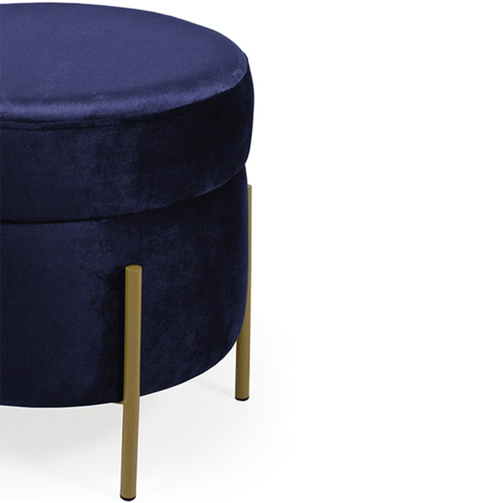 Puff Decorativo Lewis 45x45 cm Pés Mustard Suede Azul Marinho - CasaePoltrona