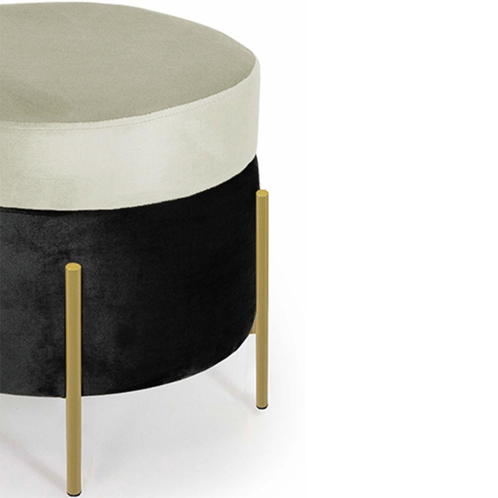 Puff Decorativo Lewis 45x45 cm Pés Bronze Suede Preto/Veludo Creme - CasaePoltrona