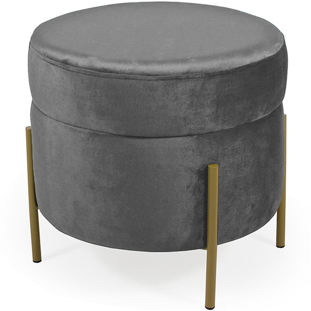 Puff Decorativo Lewis 45x45 cm Pés Bronze Veludo Granizo - CasaePoltrona