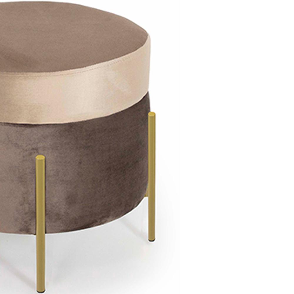 Puff Decorativo Lewis 45x45 cm Pés Bronze Veludo Marrom Claro/Veludo Marrom - CasaePoltrona