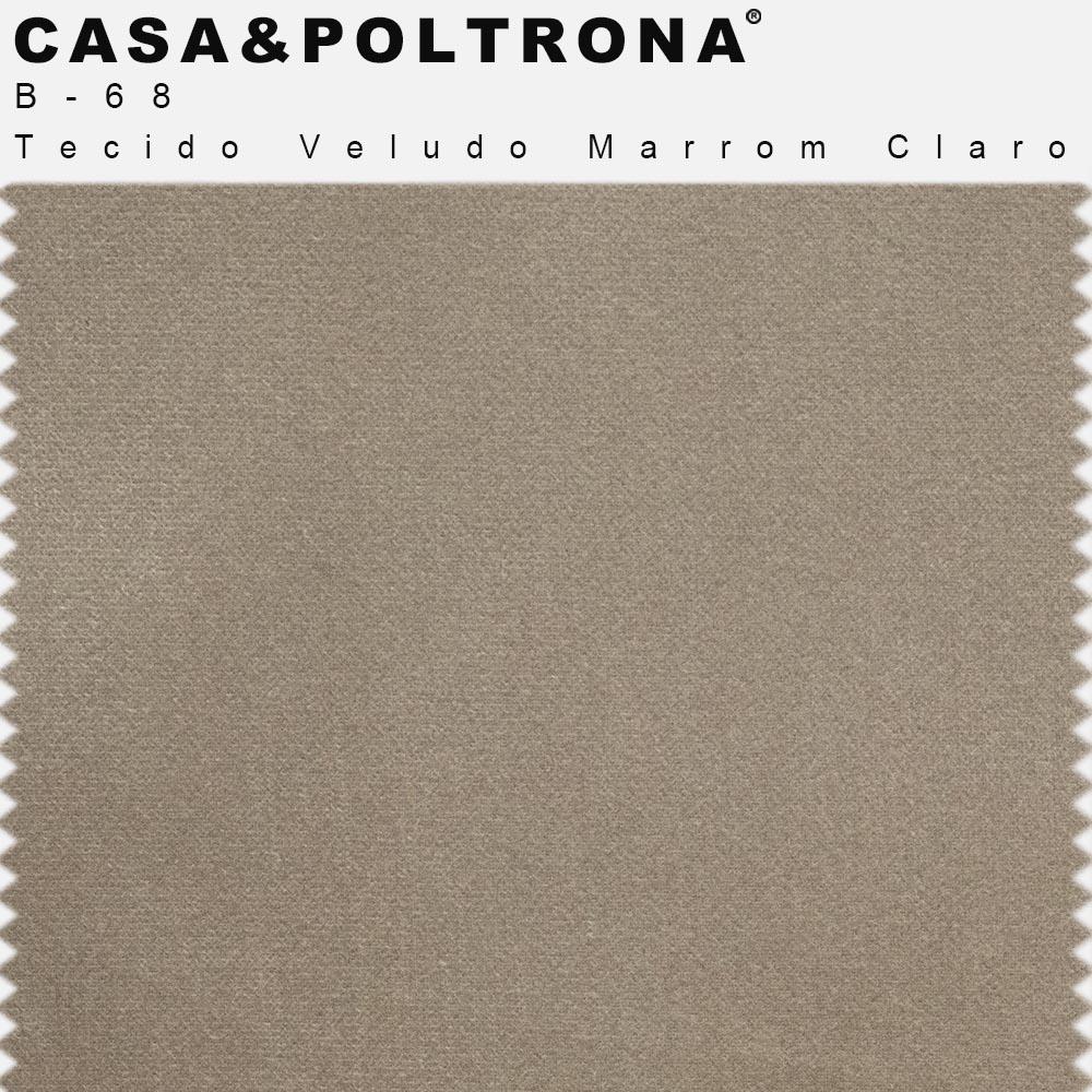 Puff Decorativo Lewis 45x45 cm Pés Bronze Veludo Marrom Claro - CasaePoltrona