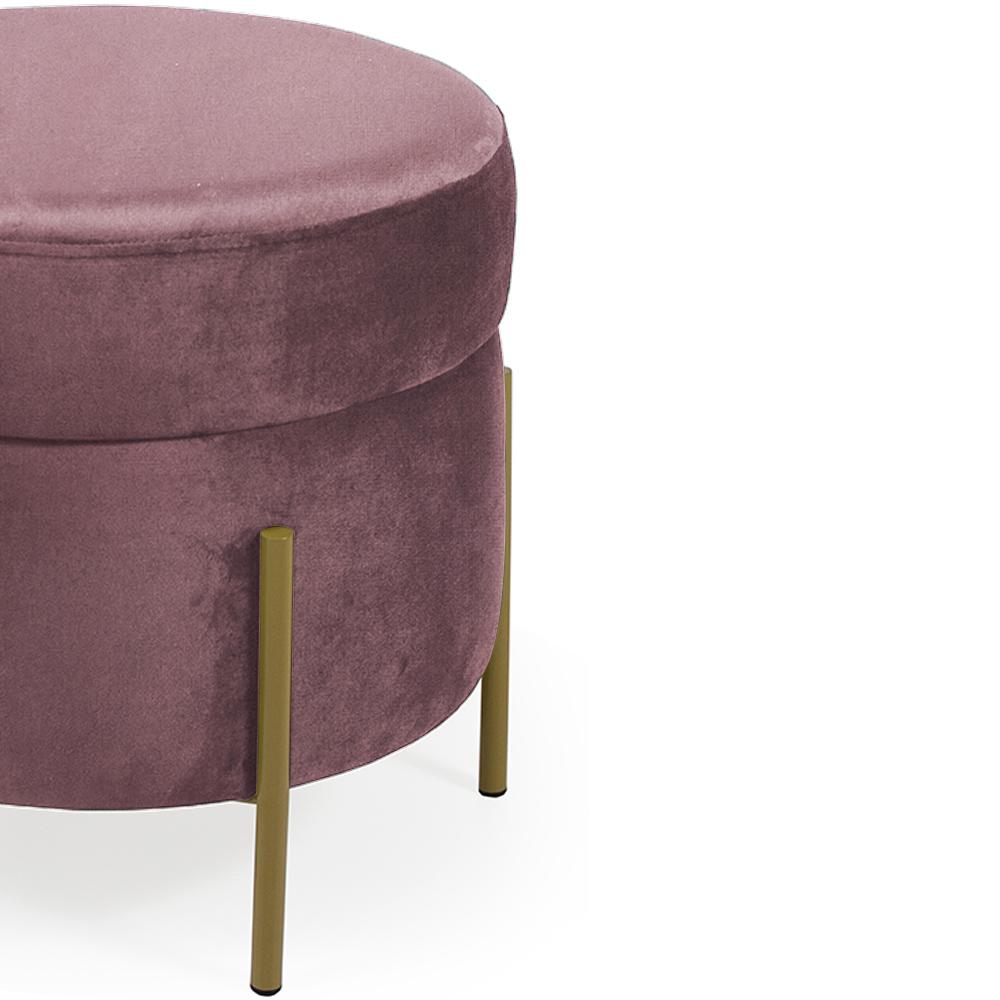 Puff Decorativo Lewis 45x45 cm Pés Bronze Veludo Rosê - CasaePoltrona