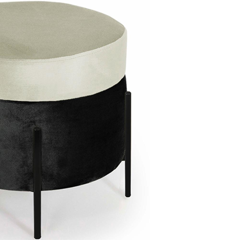 Puff Decorativo Lewis 45x45 cm Pés Preto Suede Preto/Veludo Creme - CasaePoltrona