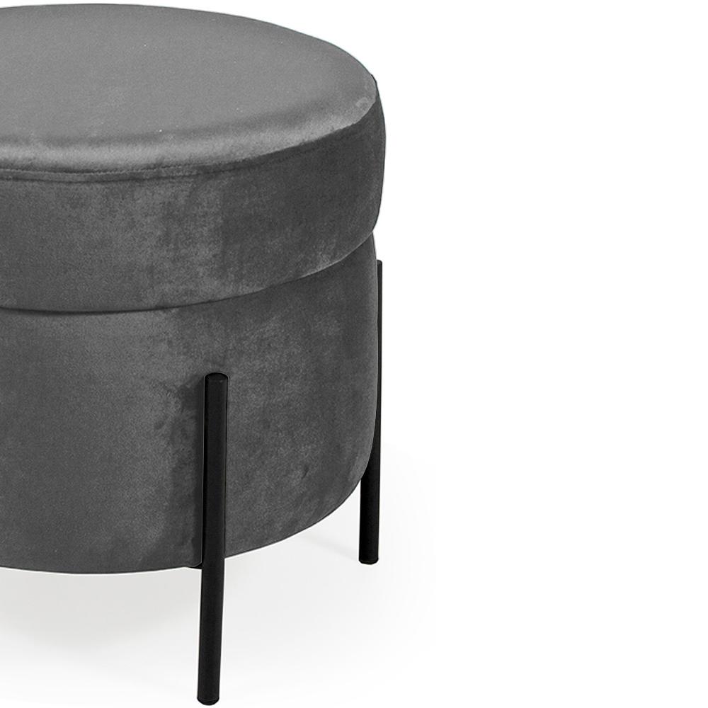 Puff Decorativo Lewis 45x45 cm Pés Preto Veludo Granizo - CasaePoltrona