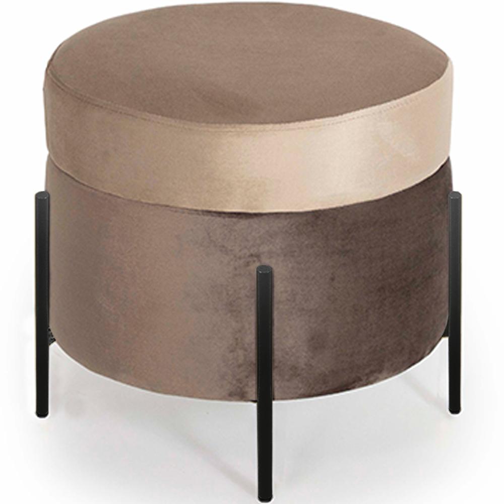 Puff Decorativo Lewis 45x45 cm Pés Preto Veludo Marrom Claro/Veludo Marrom - CasaePoltrona