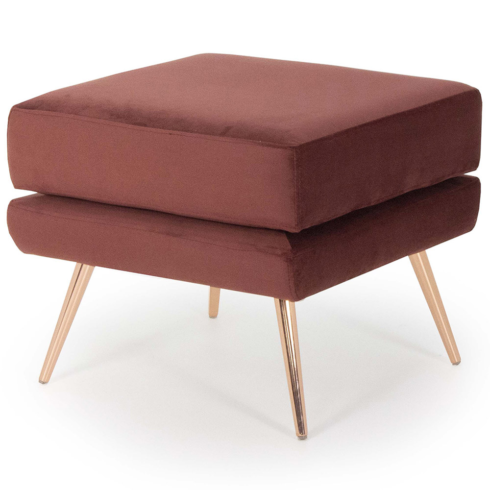 Puff Decorativo Para Sala Marrie Pés Palito Rosê Gold Veludo Marsala - casaepoltrona