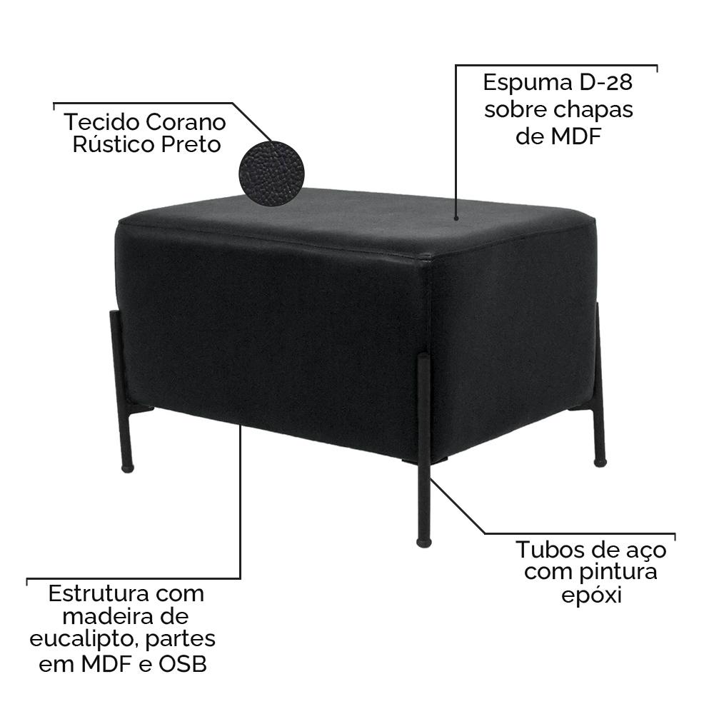 Puff Decorativo Status Base Preto Fosco Corano Rústico Preto - CasaePoltrona