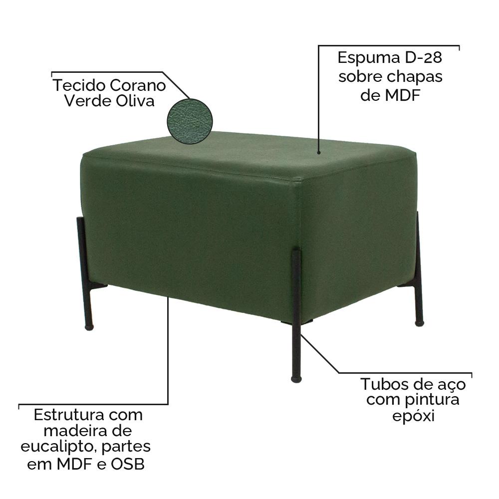 Puff Decorativo Status Base Preto Fosco Corano Verde Oliva - CasaePoltrona