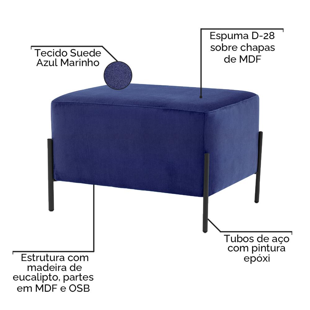 Puff Decorativo Status Base Preto Fosco Suede Azul Marinho - CasaePoltrona