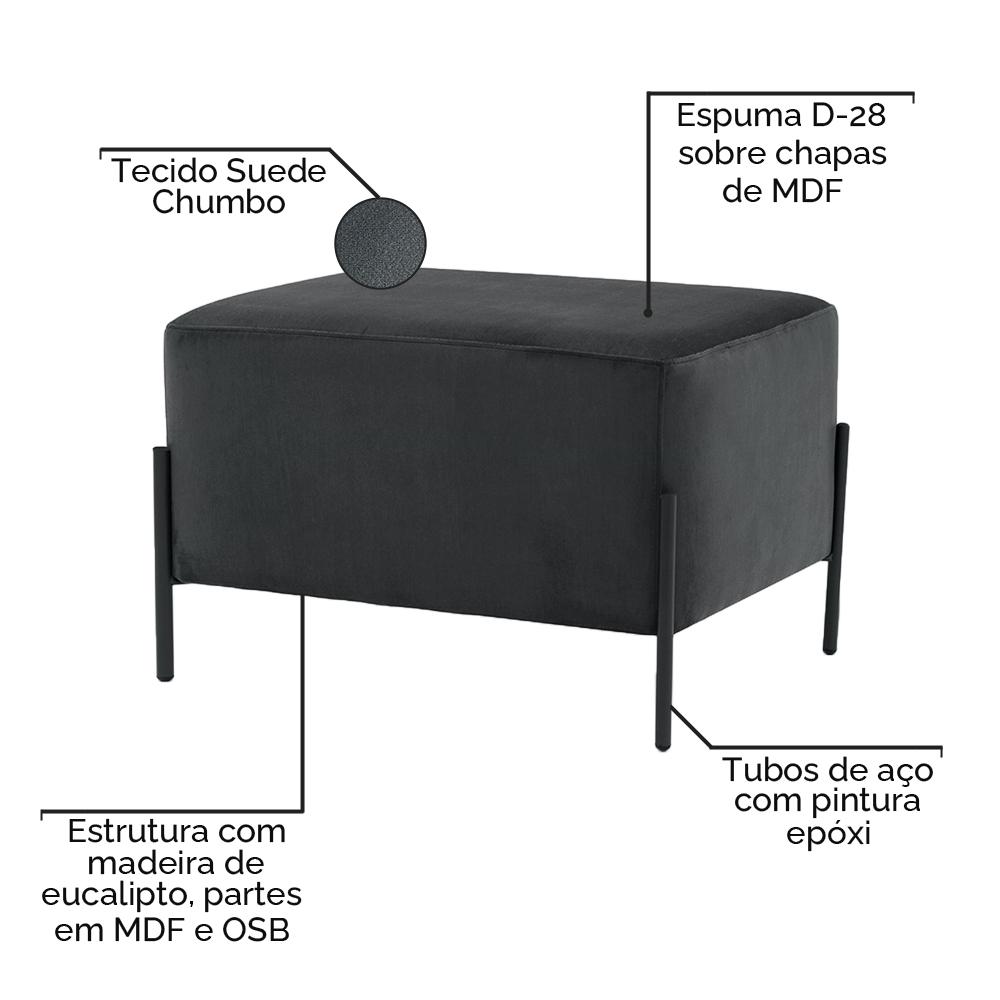 Puff Decorativo Status Base Preto Fosco Suede Chumbo - CasaePoltrona