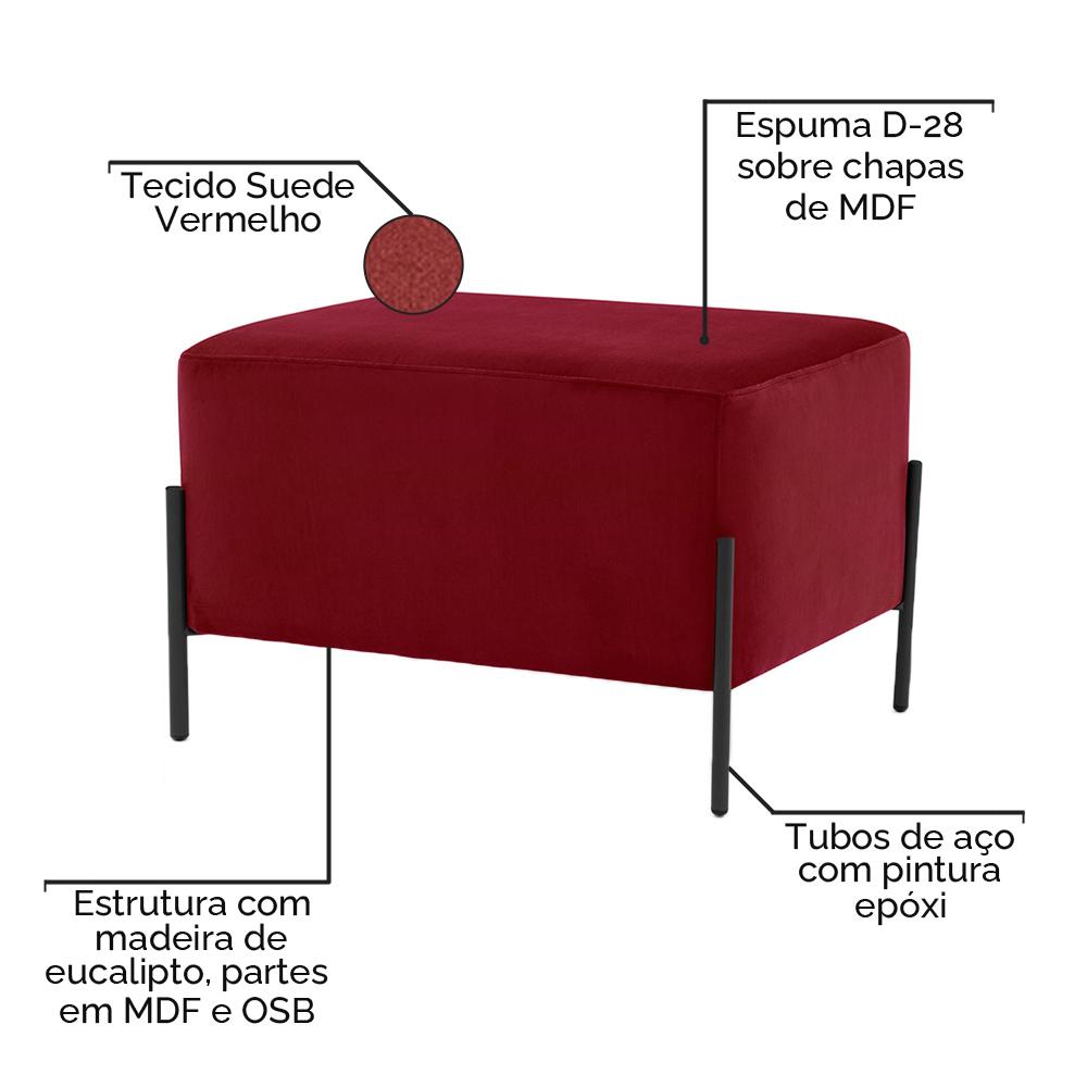 Puff Decorativo Status Base Preto Fosco Suede Vermelho - CasaePoltrona