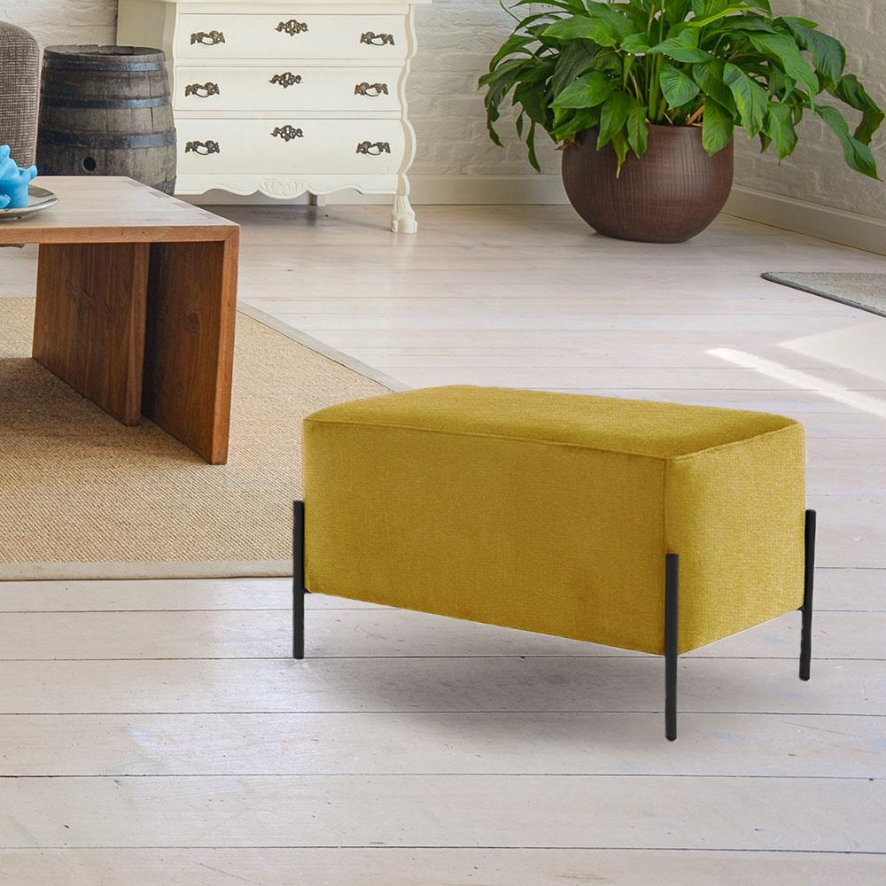 Puff Decorativo Status Base Preto Fosco Veludo Amarelo - CasaePoltrona