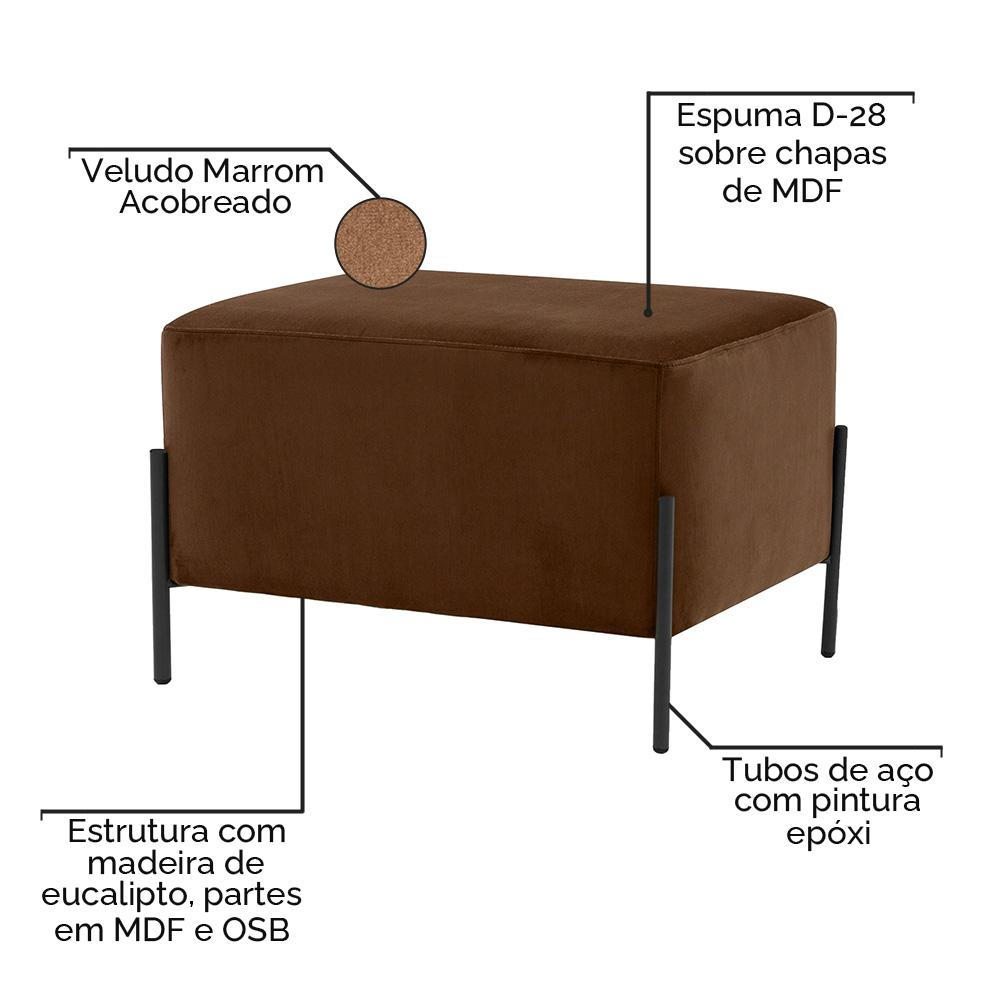 Puff Decorativo Status Base Preto Fosco Veludo Marrom Acobreado - CasaePoltrona