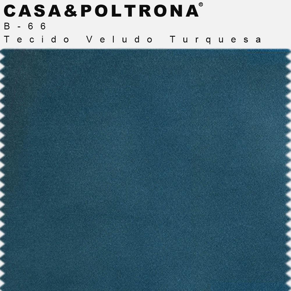 Puff Decorativo Status Base Preto Fosco Veludo Turquesa - CasaePoltrona