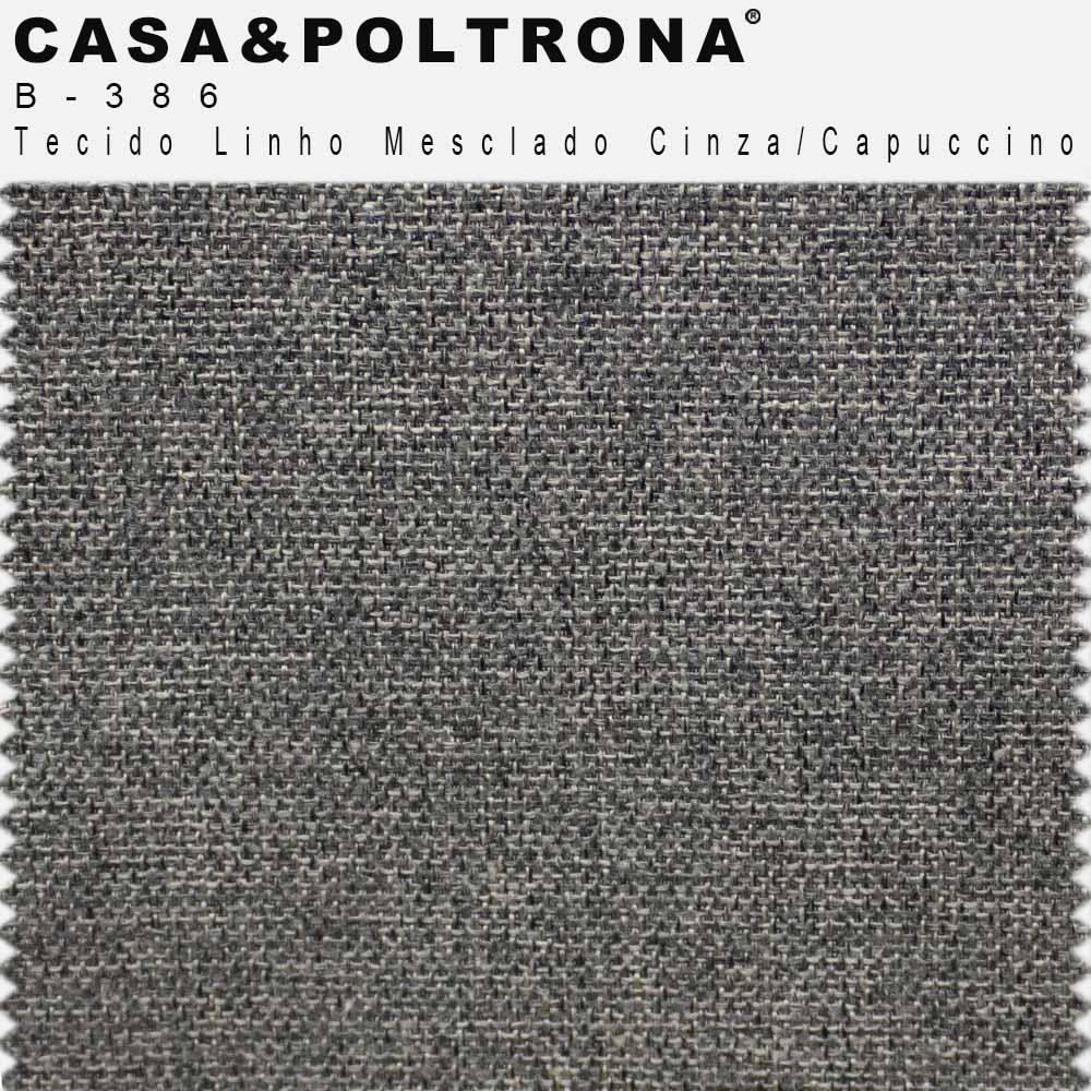 Sofá 03 Lugares 180 cm Molino Base de Madeira Pés Preto Linho Mesclado Cinza/Capuccino - casaepoltrona