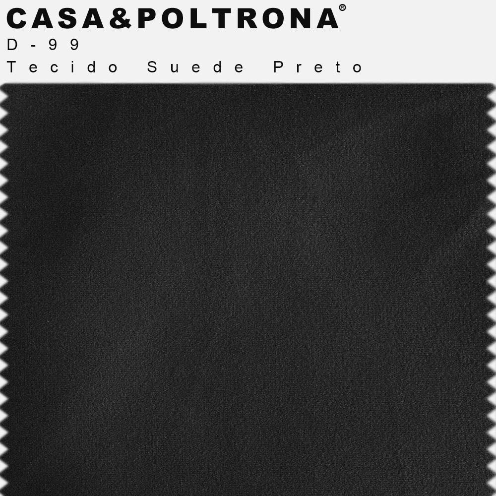 Sofá 03 Lugares 230 cm Molino Base de Madeira Pés Alumínio Suede Preto - casaepoltrona