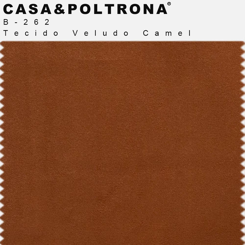 Sofá 03 Lugares 230 cm Molino Base de Madeira Pés Alumínio Veludo Camel - casaepoltrona
