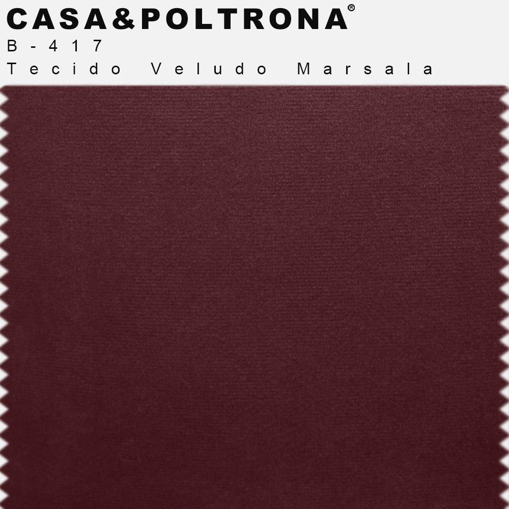 Sofá 03 Lugares 230 cm Molino Base de Madeira Pés Alumínio Veludo Marsala - casaepoltrona