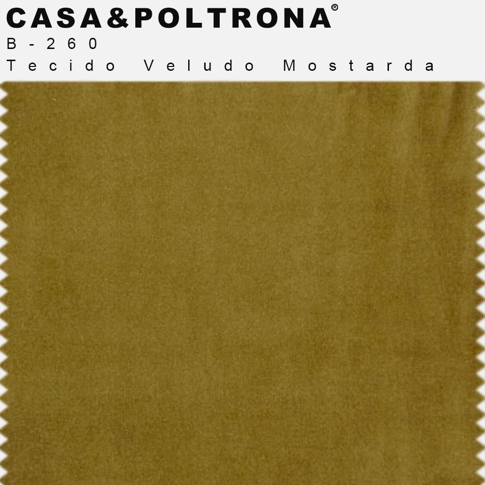 Sofá 03 Lugares 230 cm Molino Base de Madeira Pés Alumínio Veludo Mostarda - casaepoltrona