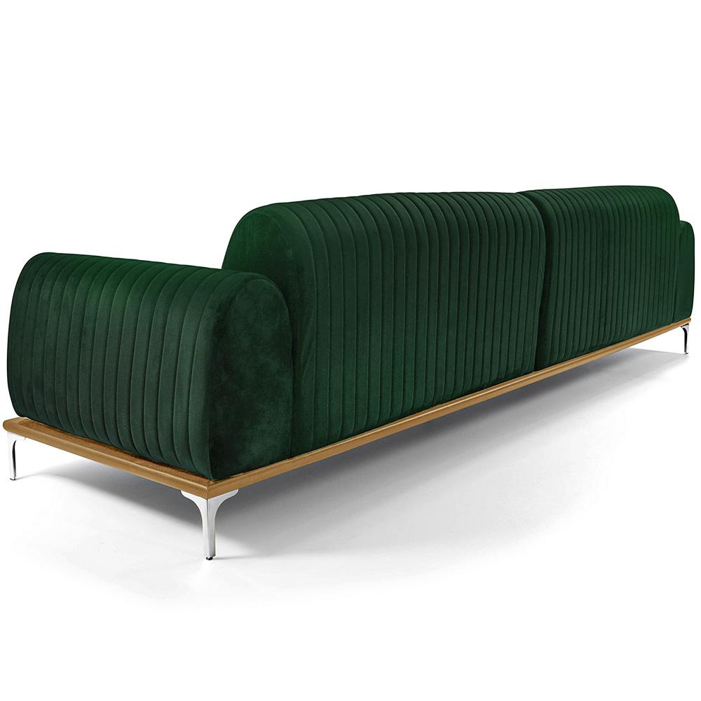 Sofá 03 Lugares 230 cm Molino Base de Madeira Pés Alumínio Veludo Verde - casaepoltrona