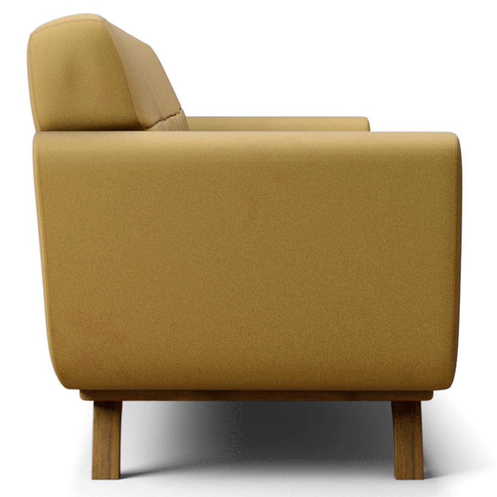 Sofá 03 Lugares 210 cm com Base de Madeira Miami Veludo Amarelo - casaepoltrona