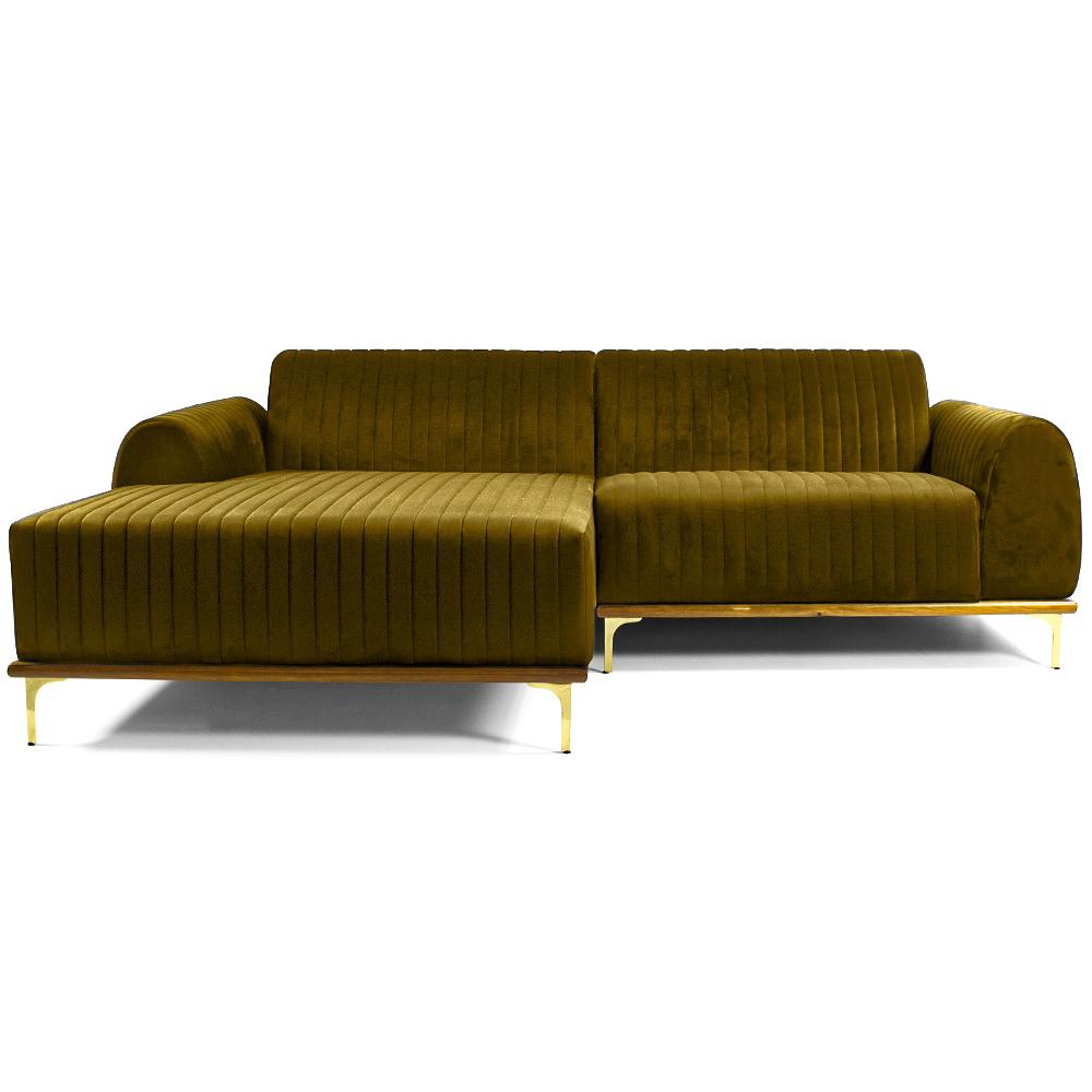 Sofá 04 Lugares 230 cm Chaise Direito Molino Base Madeira Pés Gold Veludo Mostarda - casaepoltrona