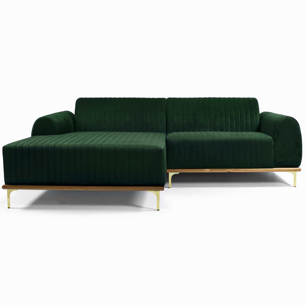 Sofá 04 Lugares 230 cm Chaise Direito Molino Base Madeira Pés Gold Veludo Verde - casaepoltrona
