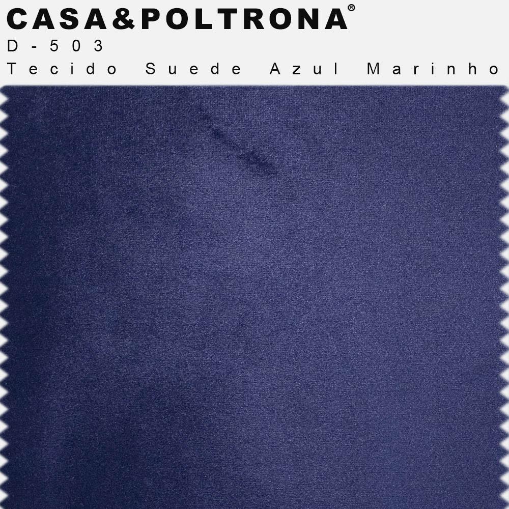 Sofá 04 Lugares 230 cm Chaise Esquerdo Molino Base Madeira Pés Gold Suede Azul Marinho - casaepoltrona