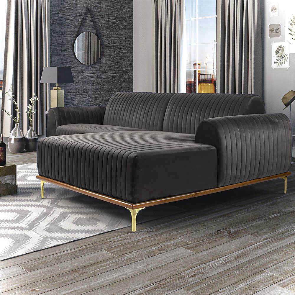 Sofá 04 Lugares 230 cm Chaise Esquerdo Molino Base Madeira Pés Gold Veludo Granizo - casaepoltrona