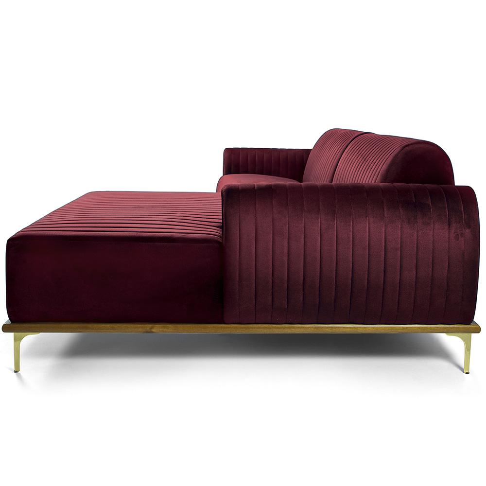 Sofá 04 Lugares 230 cm Chaise Esquerdo Molino Base Madeira Pés Gold Veludo Marsala - casaepoltrona