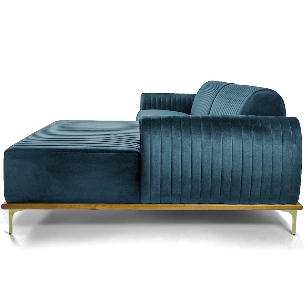 Sofá 04 Lugares 230 cm Chaise Esquerdo Molino Base Madeira Pés Gold Veludo Turquesa - casaepoltrona