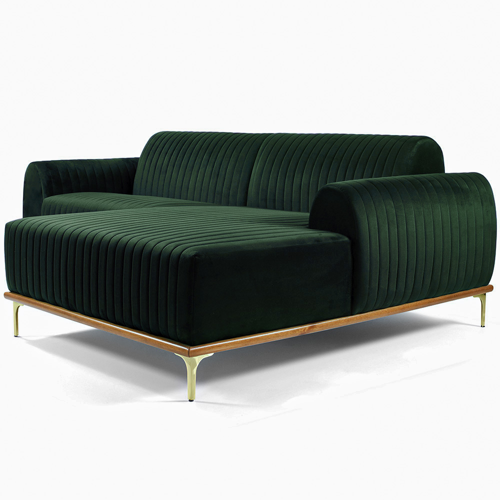 Sofá 04 Lugares 230 cm Chaise Esquerdo Molino Base Madeira Pés Gold Veludo Verde - casaepoltrona